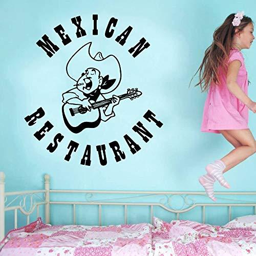 Mexicaans Restaurant Logo Muursticker Volksmuziek Strohoed Gitaar Ontwerp Muurtattoo Mexicaans Eten Woondecoratie Muurschildering 55x60cm