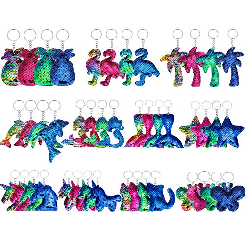 meekoo 44 Piezas Llaveros con Lentejuelas con Tiras de Llaveros con Lentejuelas de Colores Llaveros Reversibles con Brillo, 11 Estilos y 4 Colores