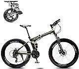 WJ Faltbare Mountain Bike 26 Zoll, 8 Sekunden Schnelles Folding MTB Fahrrad, 21 Geschwindigkeitsstahlrahmen Doppelscheibenbremse Adult Rennrad Für Off-Road Cycling-Reisen,B,26Inch