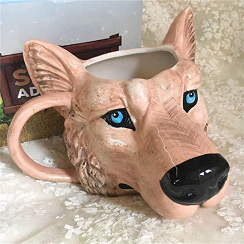 Weinschale 3D Handgemalte Persönlichkeit Cartoon Tier Tiger & Wolf & Rhino Mug Büro Milch & Kaffee Keramik Tasse, B, 301-400Ml