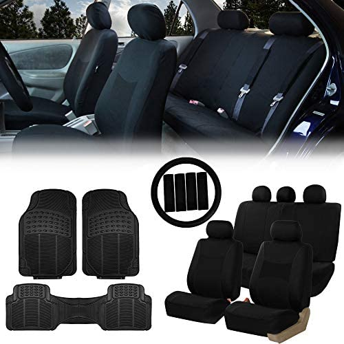 FH Group FB030115 Light Breezy Flat Cloth Seat Covers Black Trimmable Vinyl Car Floor Mats Black product image