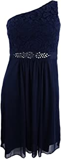 Adreanna Papell Women's One Shoulder Embellished Lace Mini Dress