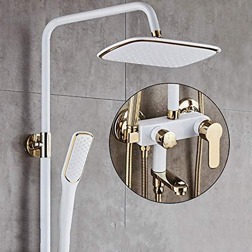 Jkckha ahorro de agua Temperatura constante Ducha del sistema con tina de la cascada del surtidor grifo de la ducha con la cabeza de ducha de lluvia cabeza y ducha de mano, montado en la pared Conjunt