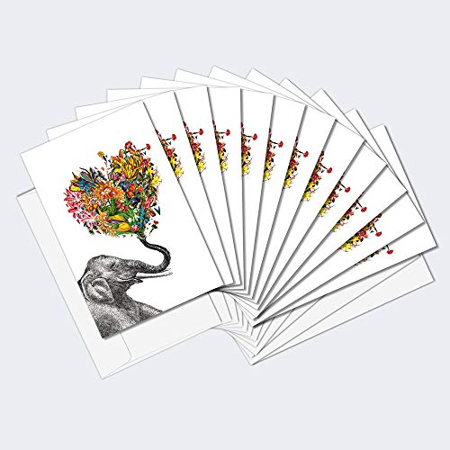 """Tree-Free Greetings 12 Pack Boxed Notes, 100% Recycled Paper, Eco-Friendly Cards, Made in the USA, Love Elephant Design, 4""""x6"""", Cute Gift Artful Design"""