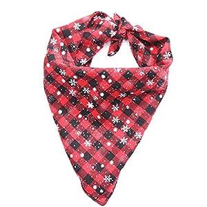 Cdet. 1pc Bandana Triangle pour Chien Noël Flocon Plaid de Neige Serviette de salive Triangle pour Animaux de Compagnie Fournitures Rouge