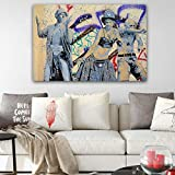 KWzEQ Graffiti Abstracto Pared Arte Moderno Lienzo Impermeable Pintura Impresiones y Carteles para habitación infantil80X120cmPintura sin Marco