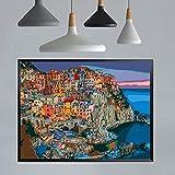 Pintura por números para adultos, parejas, familia, bricolaje, pintura al óleo, para decoración del hogar, reducir la ansiedad, aumentar la atención 40*50cm (Cinque Terre Puzzle)