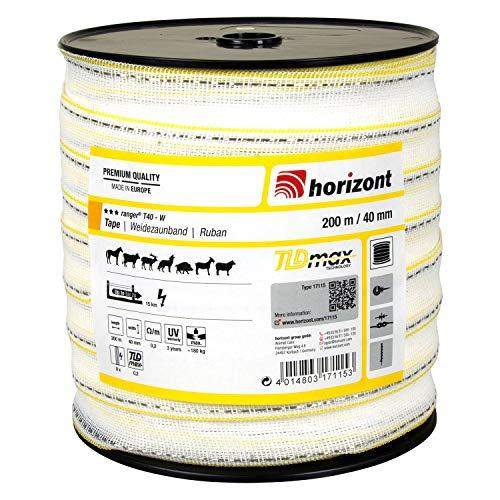 horizont Weidezaunband ranger T40-W, 200 m lang, 40 mm breit, Breitband Litze, Weidezaun Strom, Elektrozaun, für mittlere Zäune, 180 kg Bruchlast, Band, Litze Weidezaun