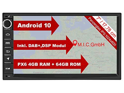 M.I.C. AU7 Android 10 Autoradio mit Navi Radio: DSP DAB+ Plus BT 5.0 Wlan 7 Zoll Bildschirm 4G+64G AHD usb sd gps doppel 2 DIN OBD mic universal Gerät Ersatz für VW Toyota KIA Nissan Hyundai Fiat usw.