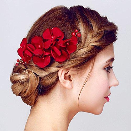 YAZILIND Tocado de Pelo de Novia Pins Flores Rojo Perla de la Boda Accesorios de Pelo Partido para Las Mujeres y Las niñas