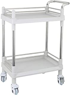 ABS 2 Layers Medical Instrument Trolley, Beauty Salon Tool Carts, Nursing Instrument Car, 76×53×90cm, Gray (Color : No Drawer)