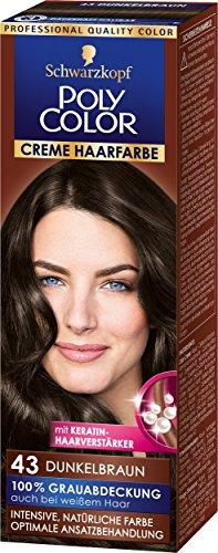 Schwarzkopf Poly Color Creme Haarfarbe, 43 Dunkelbraun Stufe 3, 3er Pack (3 x 83 ml)
