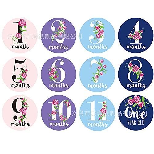 JZLMF Digital Flower Month Sticker Card - Tarjeta de felicitación para recién nacido