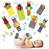 FancyWhoop Sonajeros de Muñeca Bebe Sonajero de Pies y Manos Juguetes de Desarrollo Animal Lindo Calcetines Sonajero para 0-12 Meses Recién Nacido Niño Niñas