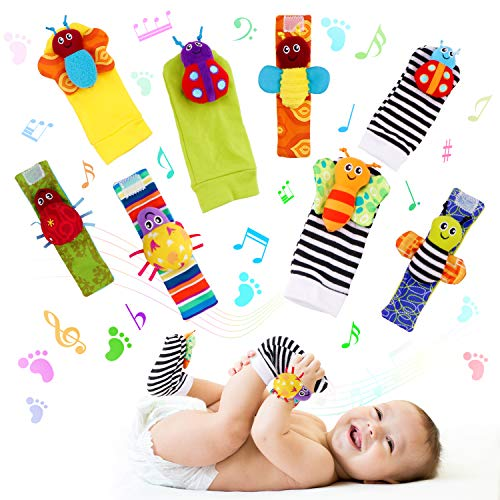 FancyWhoop Baby Socks Toys Wrist Rattle and Foot Finder Developmental Early Educational Toys Set Gift for Infant Newborn Girl Boy 0-3 3-6 Months (8 PCS)