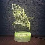 lamparas mesilla de noche Lampara De Mesilla Marine Animal Shark 3D LED Increíble visualización Ilusión Mesa Lámpara de escritorio 7 colores Cambio de luz nocturna Mesita de noche Decoración para dor