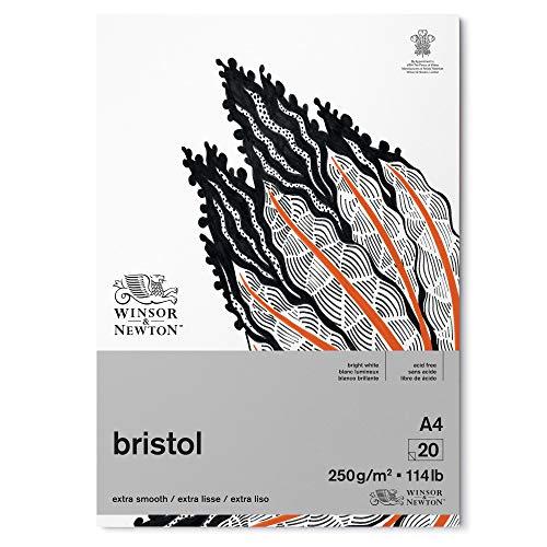 Winsor & Newton 6661545 Zeichenpapier, strahlend weißen, A4-20 Blatt Block, 250g/m²
