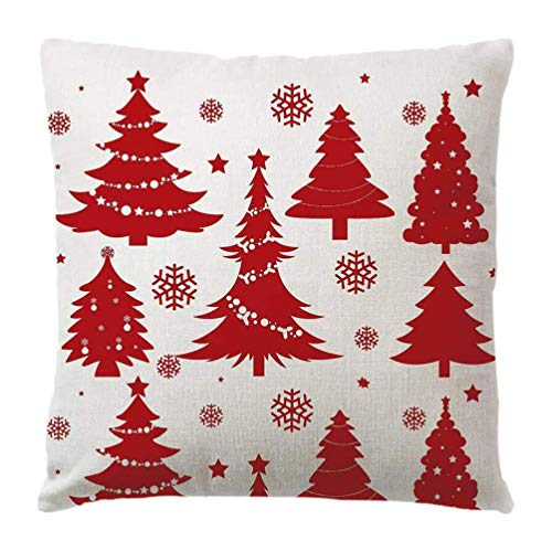 Younoo 4pc Weihnachtsdekoration Baumwoll Kissenbezüge, Kissenbezüge Weihnachtsbaum Schneeflocke Schlafzimmer Dekoratives/Elch für Zuhause (Mehrfarbig)