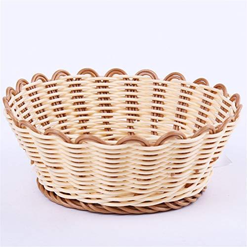 Wusfeng HongBin-basket, Imitation Rattan Bread Basket, Dustproof Picnic Basket, Handmade Bread Cover Wicker Basket,Suitable for kitchen table (Color : Orange, Size : 16x5.5)