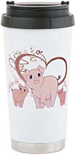 CafePress Hogs And Kisses Cute Piggies Art Stainless Steel Travel Mug, Insulated 16 oz. Coffee Tumbler