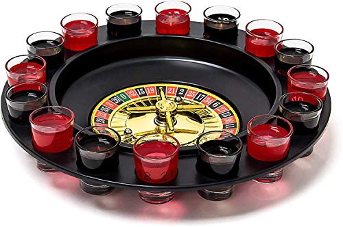 Relaxdays Drinking Game Roulette Set with 16 Shot Glasses 30 x 30 cm Gambling Game Party Fun Minimum 2 Players Casino, Gift Idea, Couple Game, Black-Red