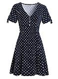 Women's Summer Vintage Elegant Button Casual Floral Print Work Party A-Line Swing Dress 815 (XL, Black Dot)