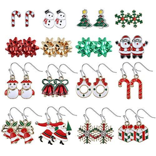 Jstyle Stud Earring Set for Women Drop Dangle Thanksgiving Holiday Earrings Santa Claus Snowmen Tree Festive Earrings with Stocking Bag