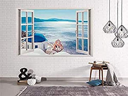 Oedim - Vinilo Ventana Vistas al Mar Desde Grecia | 50x40cm | Adhesivo Incluido | Decoracion Habitación| Pegatina Adhesiva | Multicolor | Diseño Profesional