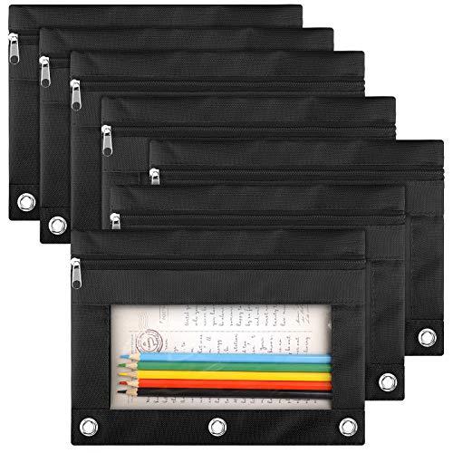 LABUK Pencil Pouch 3 Ring Binder, 7 Pack Black Zipper Pencil Pouch Pencil Case Bag