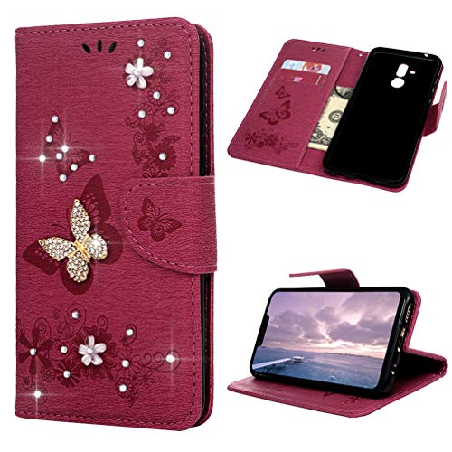 ToneSun Hülle Hülle für Huawei Mate 20 Lite, Leder Filp Wallet Handyhülle Flipcase:Prägung Multifunktionale Tasche Cover Brieftasche Schutzhülle in Rose rote doppelte Schmetterlingsblume