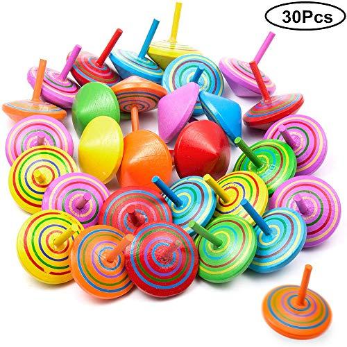 Longsing Trottole Trottola di Legno 30 Pezzi Regalo Creativo Colorato per Bambini Riempitivi per Sacchetti per Bambini per Bambini 4 * 4 * 4 cm