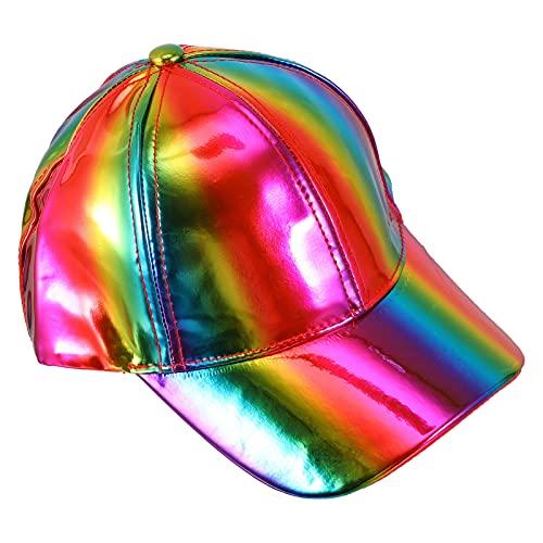 VALICLUD Gorra de Béisbol de Hip Hop con Holograma de Cuero Gorra de Béisbol de Plana Gorra de Rock Ajustable Plana Sombrero de Camionero Regalo para El Novio Y El Novio
