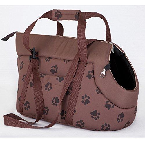 HOBBYDOG TORJBL5 trasporto BAG borsa per il trasporto per cani e gatti cani gatti Custodia Borsa per il trasporto Borsa per il trasporto (3 diverse misure), hellbraun mit Muster (Pfötchen), R3 (30 x 58 cm)