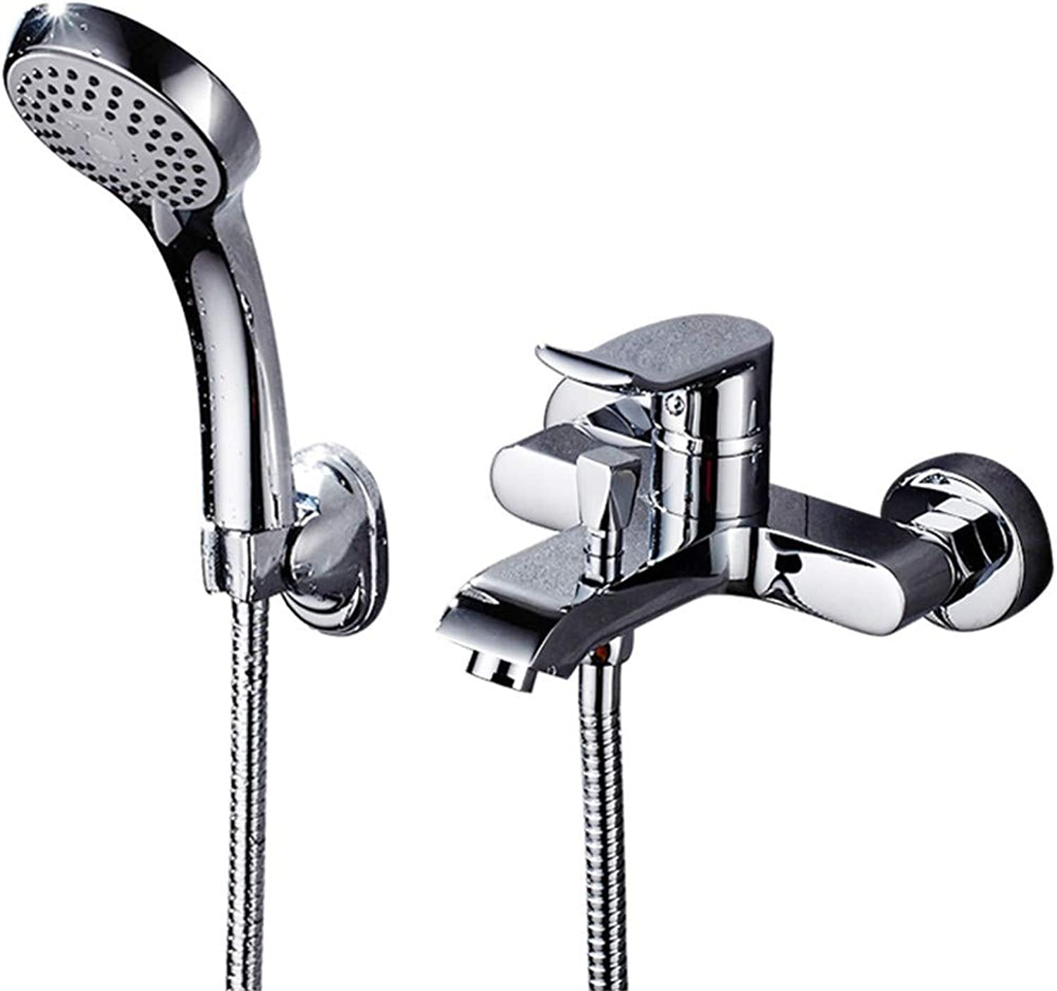 LHY BATHLEADER Single-Lever Bath Tap, Chrome Bath and Shower Mixer, Wall Mounted Hand Shower, Easy to Clean, Easy Inssizetion