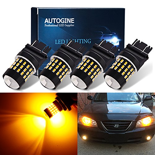 AUTOGINE 4 X Super Bright 9-30V 3157 3156 3057 3056 4157 LED Bulbs 3014 54-EX Chipsets with Projector for Turn Signal Lights Sidemarker Lights, Amber Yellow