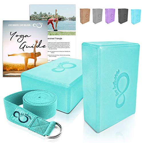 Premium Yoga Blocks & Metal D Ring Strap Yogi Set (3PC) 2 Pack High Density EVA Foam Blocks to Support & Deepen Poses, Improve Strength, Flexibility & Balance - Lightweight, Odor & (Mint)