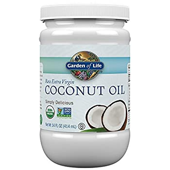 Garden of Life Organic Extra Virgin Coconut Oil - Unrefined Cold Pressed Plant Based Oil for Hair Skin & Cooking 14 Oz