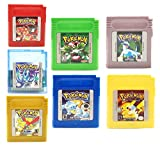 New Pokemon Gameboy Color Cartridge Collection 7-Pack (Green, Blue, Red, Yellow, Gold, Crystal, Silver) for Nintento GBM GBC USA Version (7pcs Version)
