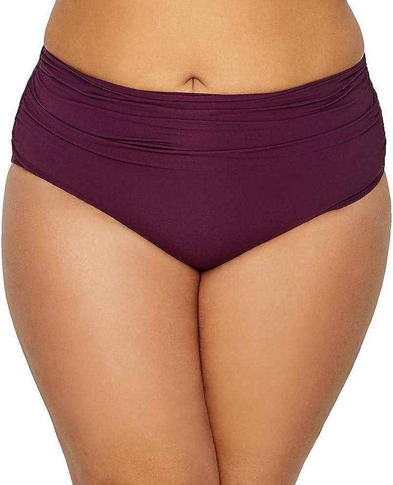 Anne Cole Plus-Size High Waist to Fold Over Shirred Bikini Bottom
