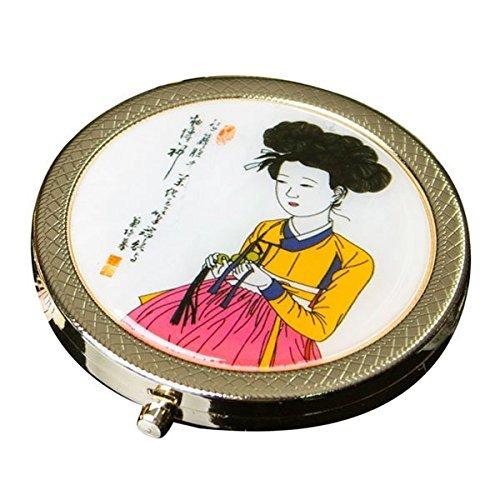 Nacre coréen Beauté Bouton poussoir rond grossissant double Compact Sac à main Maquillage Cosmétique Miroir de poche à la main
