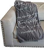 Double Creek Lightweight Scripture Throw Blanket Inspirational Verses Philippians 4:13, Luke 1:37, Proverbs 3:5, Comfort Blanket 50'x 60' Get Well Gift Men Women