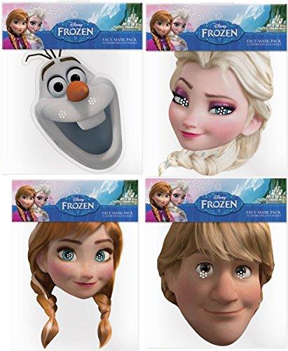 Frozen - Il Regno di Ghiaccio (Frozen) - Multipack - 6 Maschere per Costumi Realizzati con Una Carta Rigida - Anna, Elsa, Kristoff e Olaf - Prodotto Disney Ufficiale