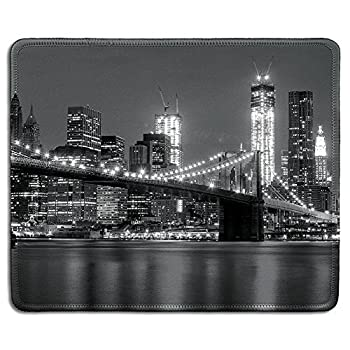 dealzEpic - Art Mouse Pad - Natural Rubber Mousepad with Black and White Skyline of New York and Brooklyn Bridge - Stitched Edges - 9.5x7.9 inches