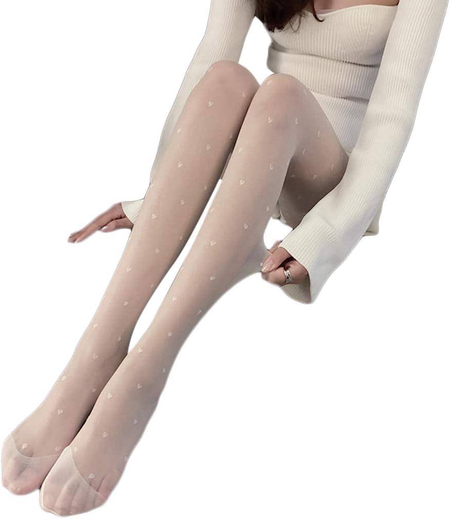 MYBOON Sweet Heart Print Silky Pantyhose Seamless Mesh Lolita Stretch Tights Stockings,Thigh High Stockings,White