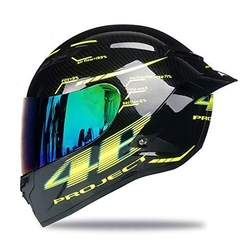 Woljay Vollgesicht Motorradhelm Unisex-Erwachsener Offroad Moto Street Bike ATV Helme 46 Glas DOT Approved (Colours,L)
