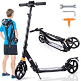 Mixhomic Scooters for Adults Teens, Kick Scooter with Dual Suspension, Adjustable T-Bar Handlebar, Folding Big Wheels Scooter, Lightweight Alloy Deck, City Scooter for Age 12 Up (Black)