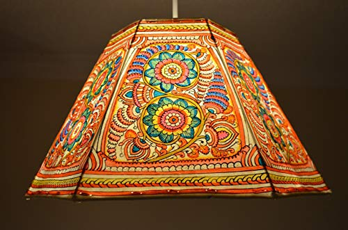 Large Ceiling Lampshade in Spring Floral Pattern | Multi Color Garden Pendant Shade | Handmade Leather Night Light Shade | 24CM Height & 40CM Width