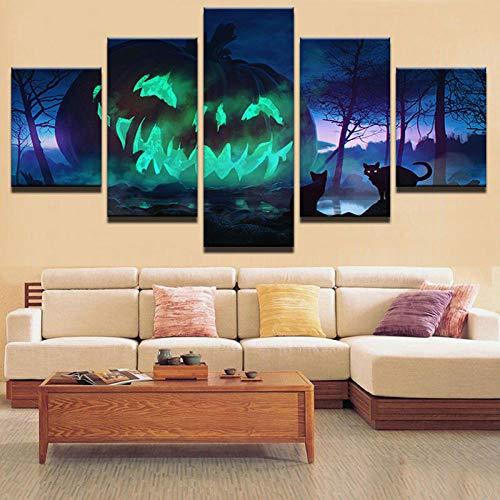 Print Vijf Panelen Op Canvashome Wanddecoratie Schilderij Vijfvoudige Enge Pompoen