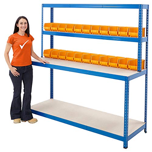 Packtisch mit Regalaufsatz | Tragkraft 300 kg | HxBxT 1800 x 1800 x 600 mm | Unkomplizierte Steckmontage | Werktisch Arbeitstisch Mehrzwecktisch