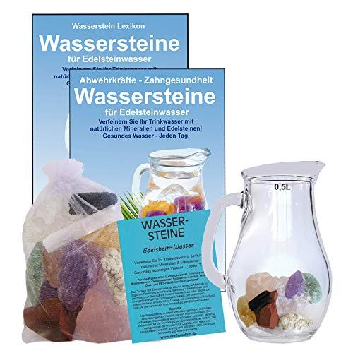 EDELSTEIN WASSER INNERE RUHE & ENTSPANNUNG finden 5-tlg SET. 300g WASSERSTEINE zur Wasseraufbereitung für Trinkwasser + 0,5 L Glaskrug Karaffe + Anleitung + Zubehör. 90036-1